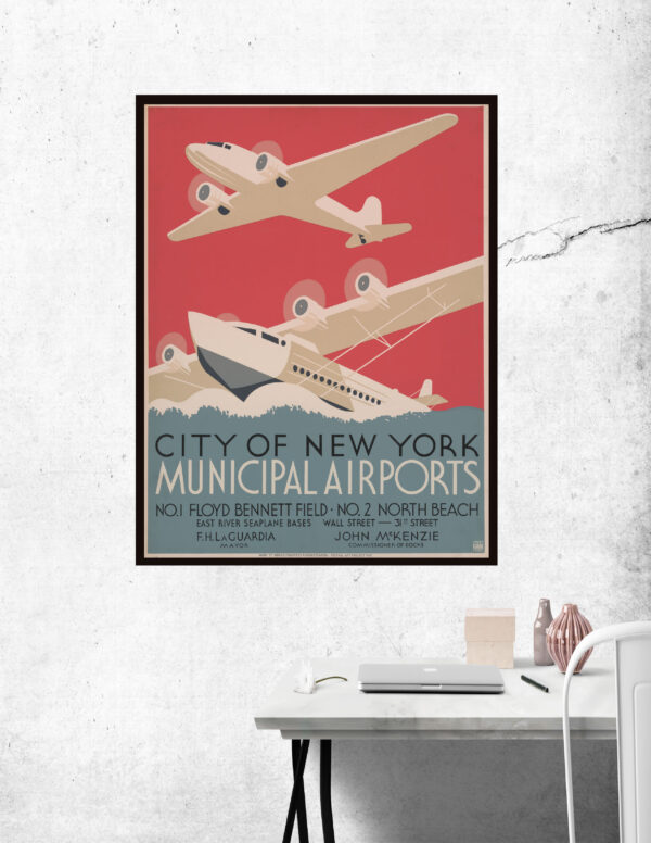 WPA poster containing information about the NYC airport and seaport