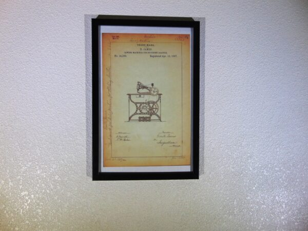 Leather sewing machine trademark poster