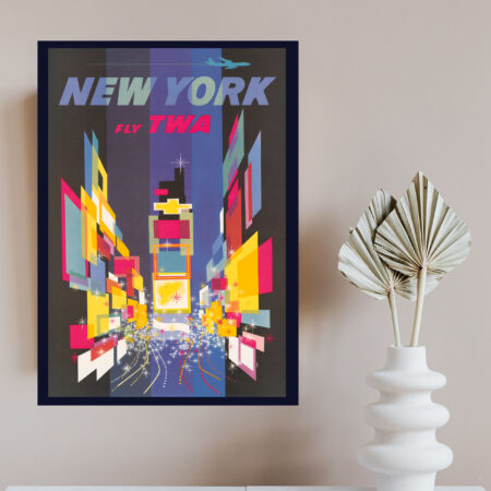 TWA travel poster of Time Square